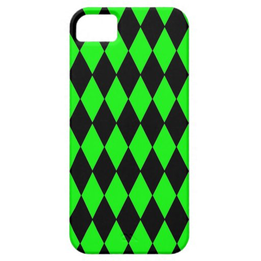 Neon Lime Green and Black Diamond Harlequin Patter iPhone 5 Covers