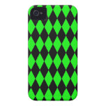 Neon Lime Green and Black Diamond Harlequin Patter Case-Mate iPhone 4 Case