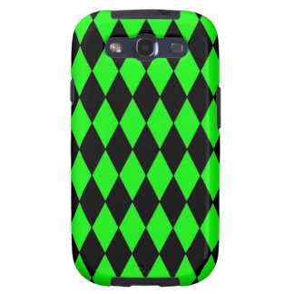 Neon Lime Green and Black Diamond Harlequin Patter Samsung Galaxy S3 Cover