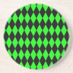 Neon Lime Green and Black Diamond Harlequin Patter Coasters