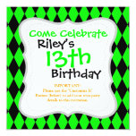 """Neon Lime Green and Black Diamond Harlequin Patter 5.25"""" Square Invitation Card"""