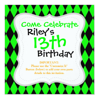 Neon Lime Green and Black Diamond Harlequin Patter Personalized Invitations