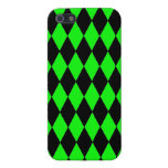 Neon Lime Green and Black Diamond Harlequin Patter Cases For iPhone 5