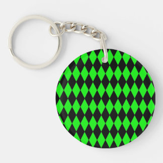 Neon Lime Green and Black Diamond Harlequin Patter Acrylic Key Chain