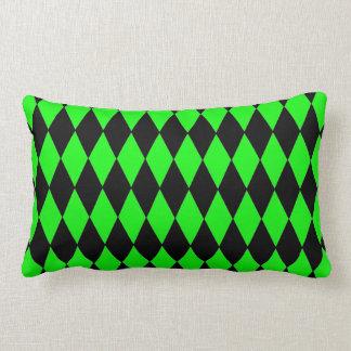 Neon Lime Green and Black Diamond Harlequin Patter Lumbar Pillow