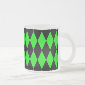 Neon Lime Green and Black Diamond Harlequin Patter Mugs