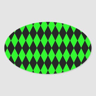 Neon Lime Green and Black Diamond Harlequin Patter Oval Sticker