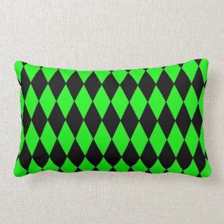Neon Lime Green and Black Diamond Harlequin Patter Pillow