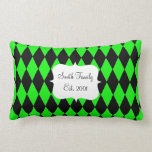 Neon Lime Green and Black Diamond Harlequin Patter Pillows