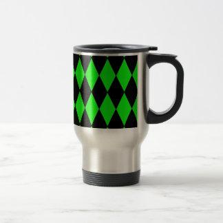Neon Lime Green and Black Diamond Harlequin Patter Travel Mug