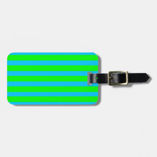 Neon Lime Green and Teal Blue Stripes Bag Tag