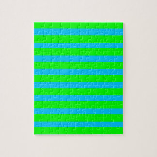 Neon Lime Green and Teal Blue Stripes Jigsaw Puzzles