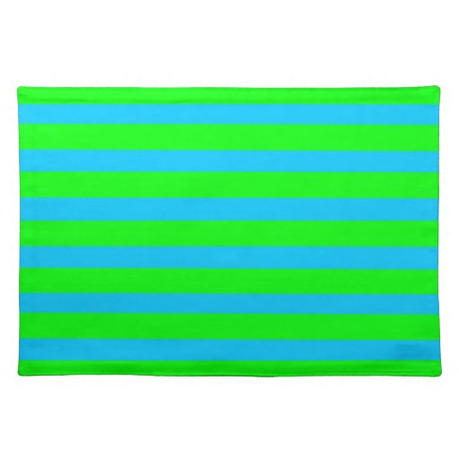 Neon Lime Green And Teal Blue Stripes Placemat Zazzle