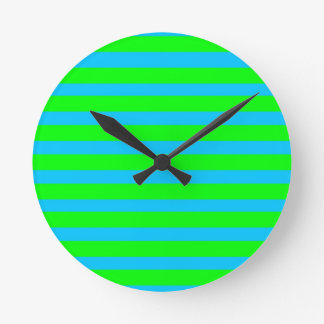 Neon Lime Green and Teal Blue Stripes Round Clock