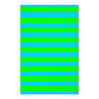 Neon Lime Green and Teal Blue Stripes Stationery