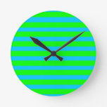 Neon Lime Green and Teal Blue Stripes Wallclocks