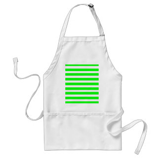 Neon Lime Green and White Stripes Pattern Novelty Adult Apron