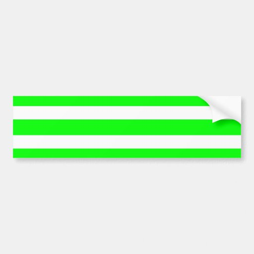 Neon Lime Green and White Stripes Pattern Novelty Car Bumper Sticker