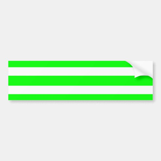 Neon Lime Green and White Stripes Pattern Novelty Bumper Sticker