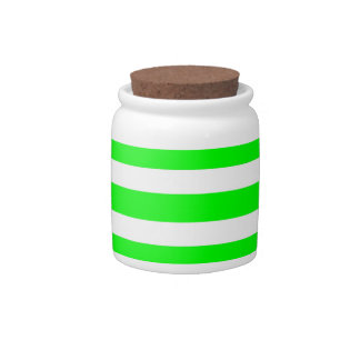 Neon Lime Green and White Stripes Pattern Novelty Candy Jars