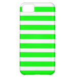 Neon Lime Green and White Stripes Pattern Novelty Case For iPhone 5C
