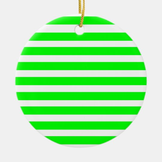 Neon Lime Green and White Stripes Pattern Novelty Ceramic Ornament