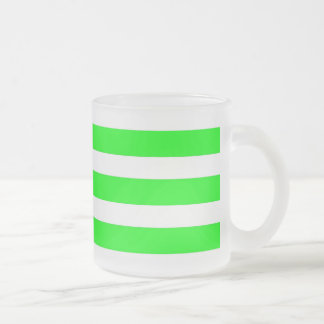 Neon Lime Green and White Stripes Pattern Novelty Frosted Glass Coffee Mug