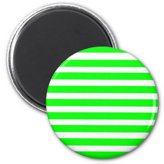 Neon Lime Green and White Stripes Pattern Novelty Magnet