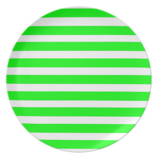Neon Lime Green and White Stripes Pattern Novelty Melamine Plate