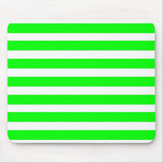 Neon Lime Green and White Stripes Pattern Novelty Mousepads