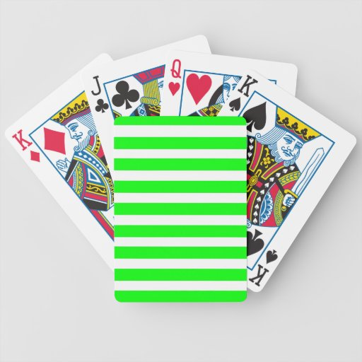 Neon Lime Green and White Stripes Pattern Novelty Bicycle Card Deck