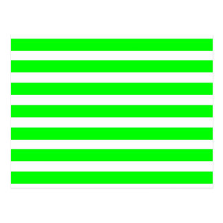 Neon Lime Green and White Stripes Pattern Novelty Postcard