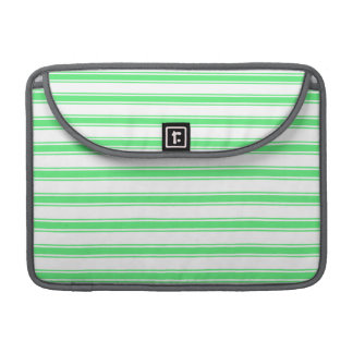 Neon Lime Green and White Stripes; Striped Sleeves For MacBooks