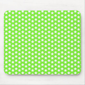Neon Lime Green & White Stars Mouse Pad