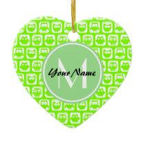 Neon Lime Owls Personalized Monogram Ceramic Ornament