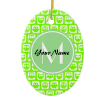 Neon Lime Owls Personalized Monogram Ceramic Ornament