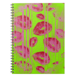 Neon Lime Red Lips Notebook