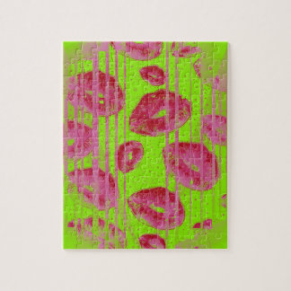 Neon Lime Red Lips Puzzle