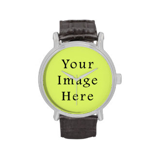 Neon Lime Yellow Green Color Trend Blank Template Wristwatches