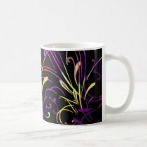 curvilinear, linear, art, design, abstract, flourish, black, purple, red, yellow, gift, gifts, mug, mugs, Caneca com design gráfico personalizado