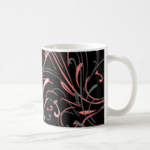 curvilinear, linear, art, design, abstract, flourish, black, gray, pink, gift, gifts, mug, mugs, Mug with custom graphic design