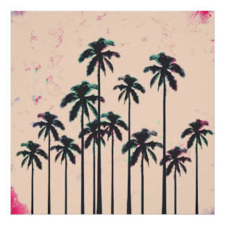 Neon Lined Black Palm Trees on Peach Horizon Poster