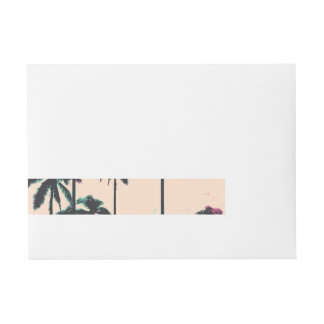 Neon Lined Black Palm Trees on Peach Horizon Wrap Around Address Label