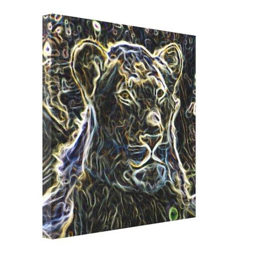 Neon Lion Stretched Canvas Print