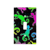 Neon Lizard and Leaf Pattern Light Switch Cover
