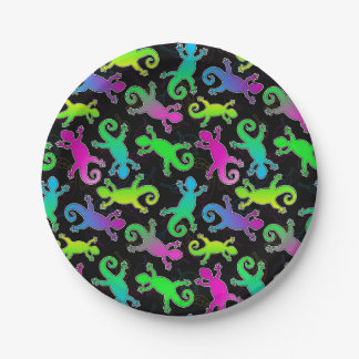 Neon Lizard and Leaf Pattern Paper Plate