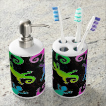Neon Lizard and Leaf Pattern Soap Dispenser And Toothbrush Holder