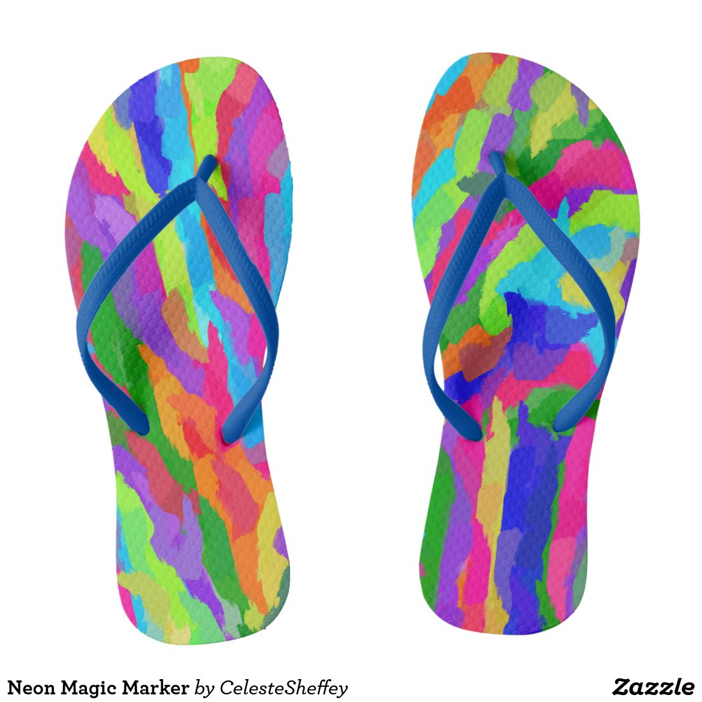 Neon Magic Marker Art 9931 Flip Flops