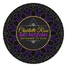 Neon Mandala Groovy Bat Mitzvah Round Invitation