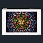 "Neon Mandala Laptop Skins<br><div class=""desc"">Bright neon mandala pattern is on the black background.</div>"